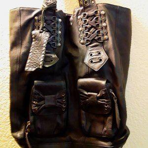 Betsey Johnson Corset tote leather bag black